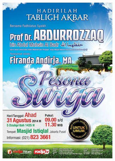 Tabligh Akbar Bersama Syaikh Abdurrazaq Al Badr - Pesona Surga