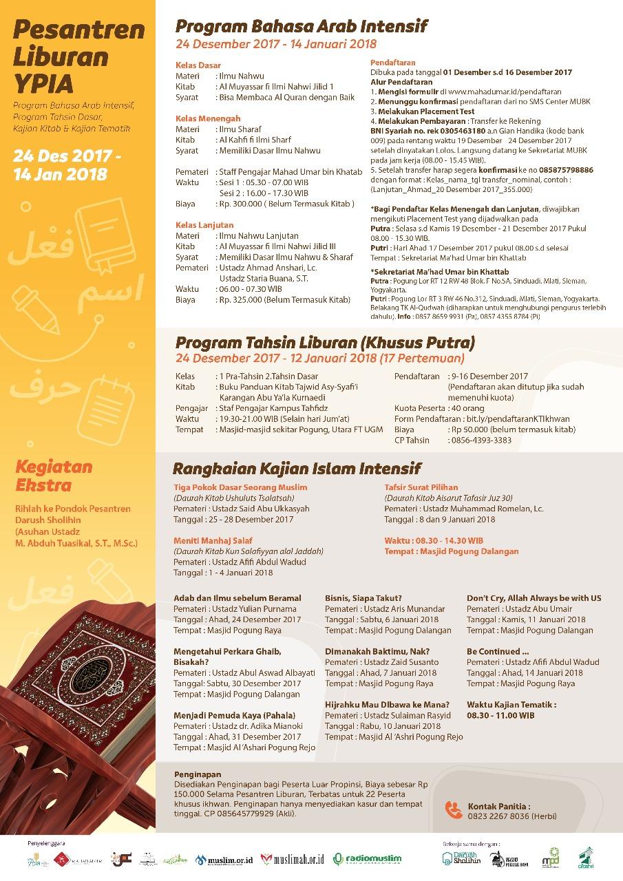 (Program Bahasa Arab Intensif, Tahsin, Kajian Kitab dan Tematik)_